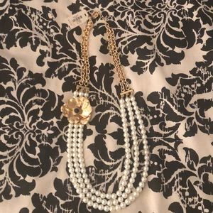 NWT Talbots Pearl Necklace w/Gold Flower